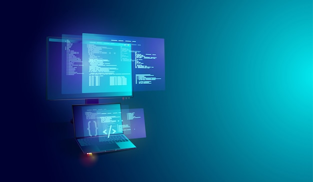 Software and program development on laptop and pcr Premium Vector