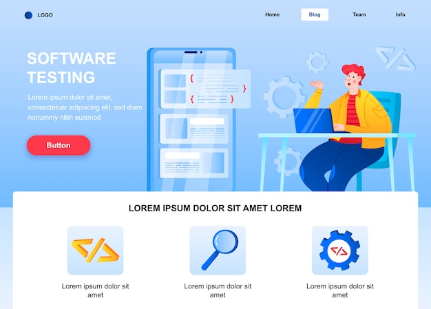 フラットなランディングページをテストするソフトウェア。モバイルアプリケーションのwebページをデバッグするエンジニア。 Premiumベクター