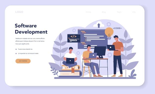 Программный веб-баннер или целевая страница. идея программирования и кодирования, разработка системы. цифровая технология. компания-разработчик программного обеспечения пишет код. Premium векторы