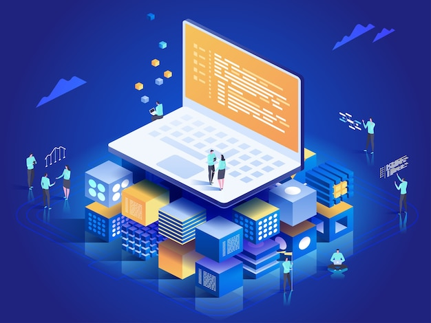 Software, web development, programming concept. people interacting with laptop,  charts and analyzing statistics. technology process of software development.  isometric illustration Premium Vector