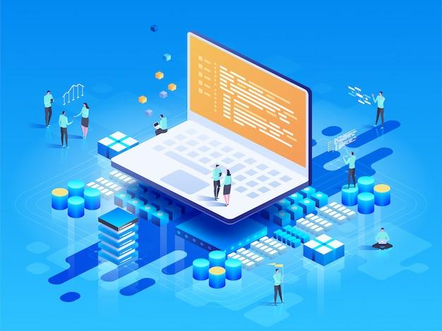 Программное обеспечение, веб-разработка, концепция программирования. люди взаимодействуют с ноутбуком Premium векторы