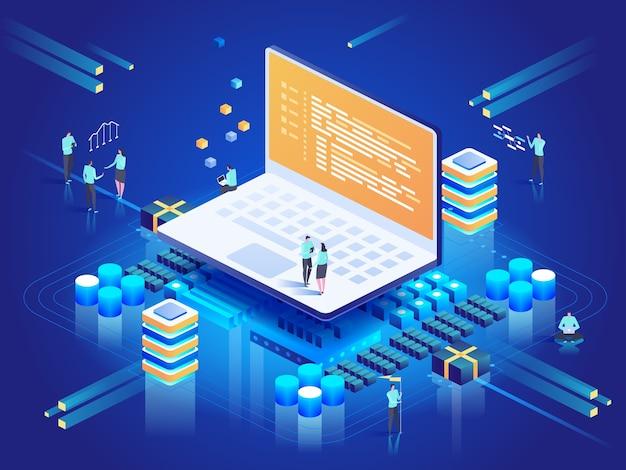 Программное обеспечение, веб-разработка, концепция программирования. Premium векторы