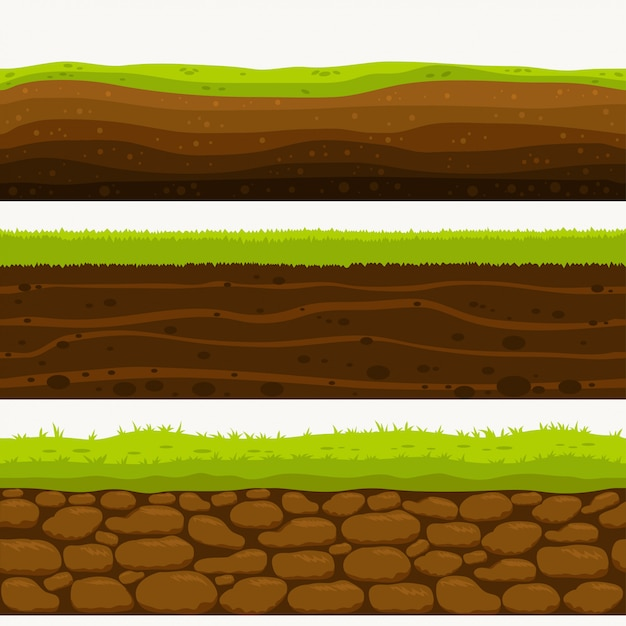 Soil seamless layers ground layer Premium Vector