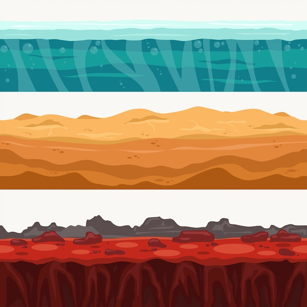 Soil seamless layers surroundings with rock stone. water surface, volcanic lava, desert sand. Premium Vector