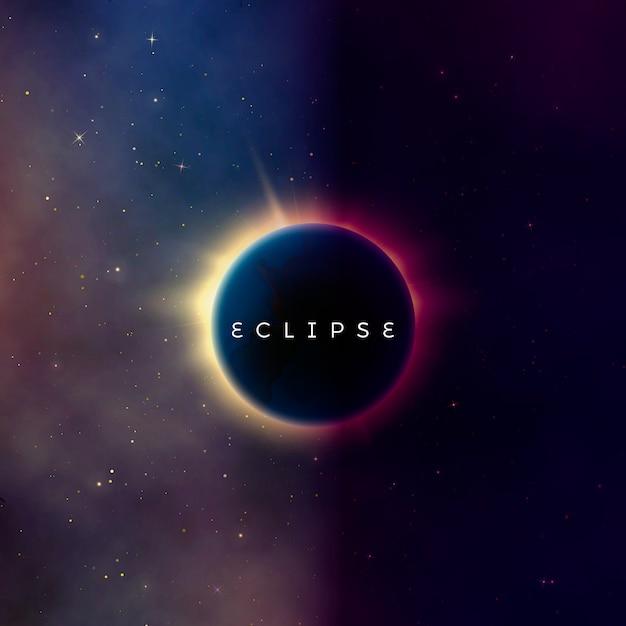Солнечное затмение. абстрактный фон астральной вселенной. из-за планеты вырвались лучи звездного света. астрономический эффект - солнечное затмение. иллюстрация Premium векторы