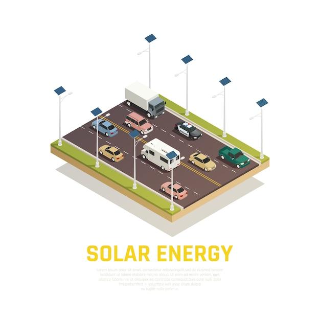 자동차 배터리 및 도로 아이소 메트릭 태양 에너지 개념 무료 벡터