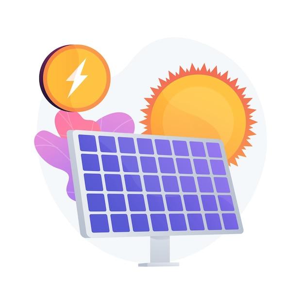 Solar energy technology. alternative resources, green electricity, renewable energy. solar batteries, innovative power generating equipment. Free Vector