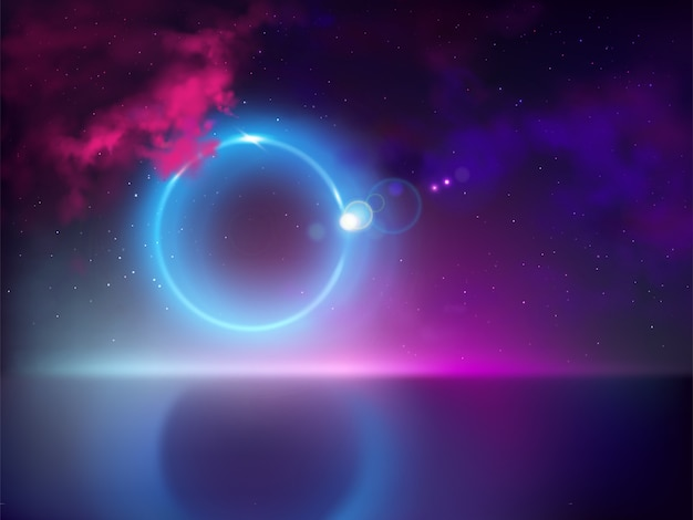 Solar or lunar eclipse with light ray, beam tear away from hidden moon disc Free Vector