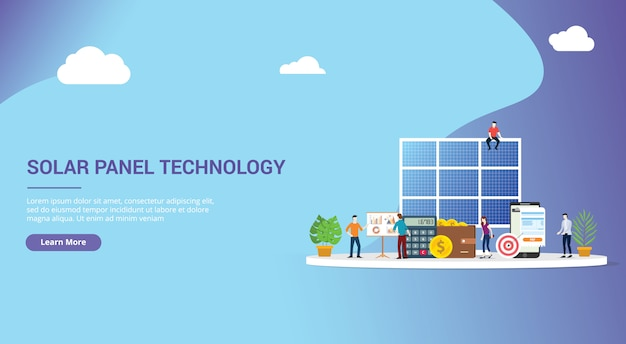 Solar panel energy business website design Vector | Premium