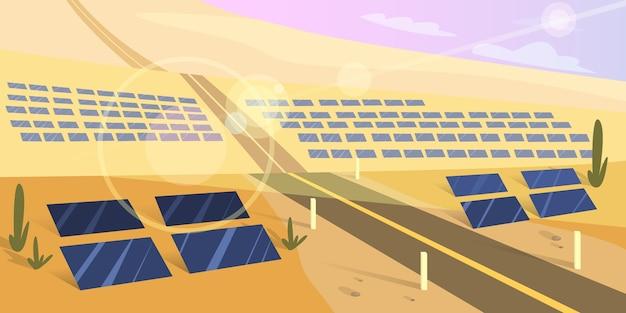 地面にソーラーパネル。太陽からの代替エネルギーとパワーのアイデア。砂漠の屋外の景色。漫画のスタイルのイラスト Premiumベクター