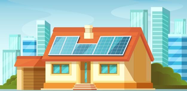 ソーラーパネル、代替エネルギー、民家の屋根の上。 Premiumベクター