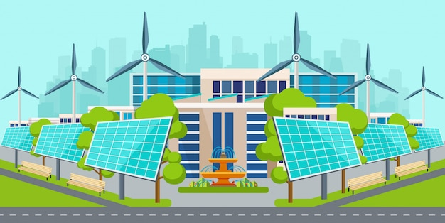 Solar panels with wind turbines in city. Premium Vector