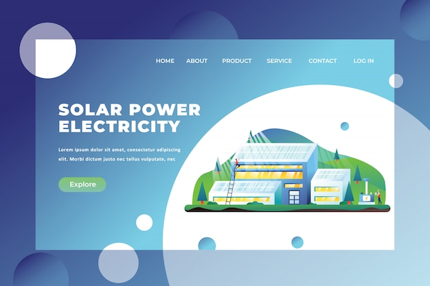 Solar power electricity landing page template Premium Vector