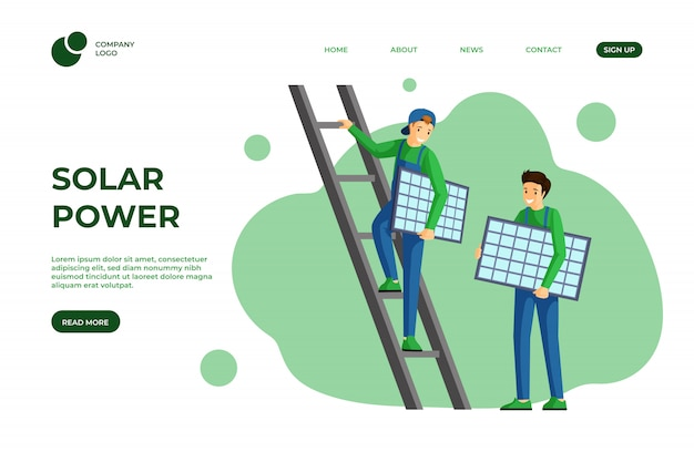 Solar power landing page template. using alternative and renewable green energy website design. solar panels installation, photovoltaic module mounting service web one page cartoon layout Premium Vector