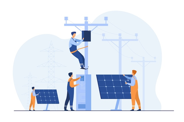 태양 광 발전소 유지 보수. 전기 설비, 전력선 아래 타워의 상자를 수리하는 유틸리티 노동자. 전기 네트워크 운영, 도시 서비스, 재생 에너지 주제 무료 벡터