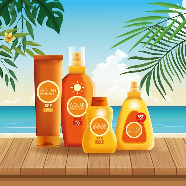 Solar protection bottles products for summer Free Vector