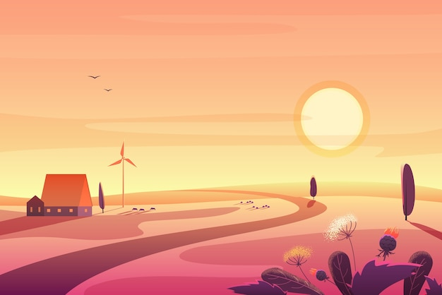Solar rural landscape in sunset with hills, small house, wind turbine illustration Premium Vector