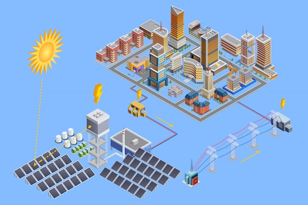 Solar station isometric poster Free Vector