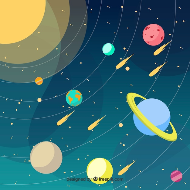 Solar System Background Vector Free Download