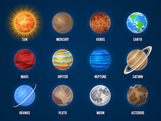 Solar system cartoon planets. cosmos planet galaxy space orbit sun moon jupiter mars venus earth neptune mercury universe set Premium Vector