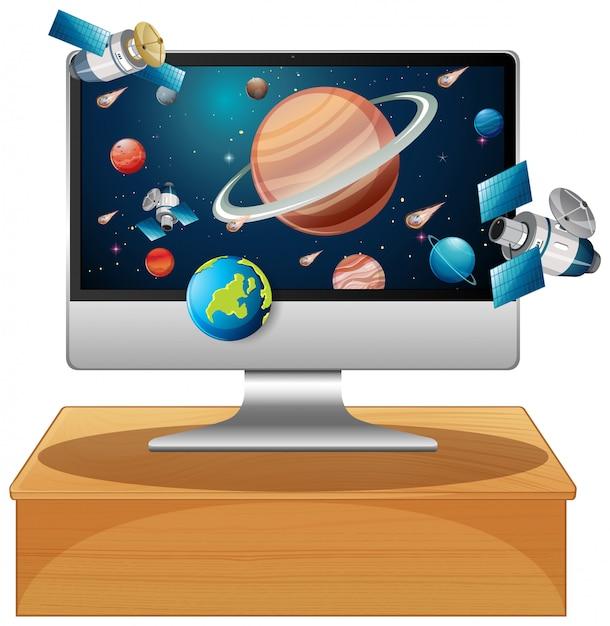 Sistema solare sul desktop del computer Vettore gratuito