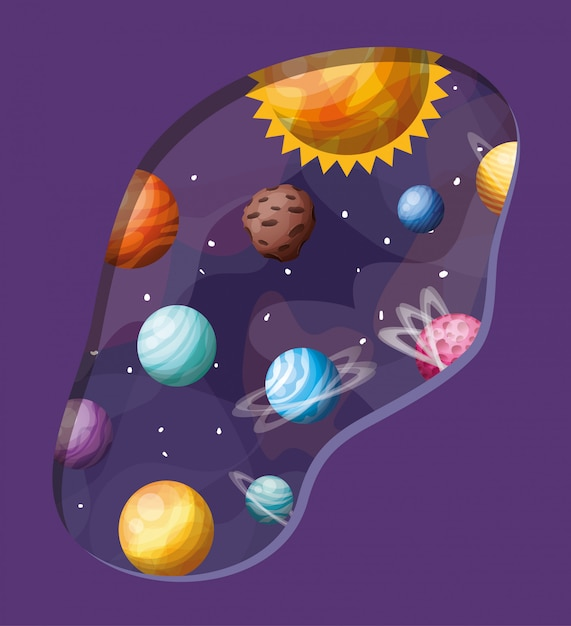 Solar system planets and sun Free Vector