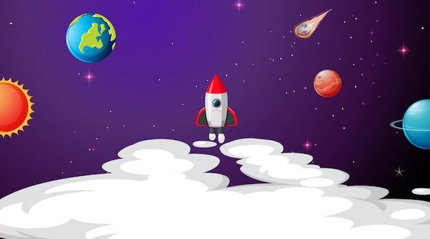 Solar system scene background background Free Vector