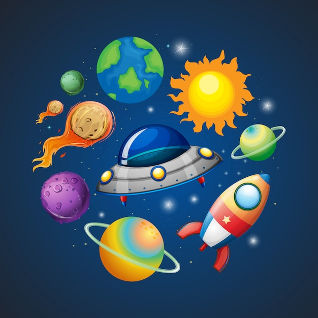 Solar system and space Premium Vector