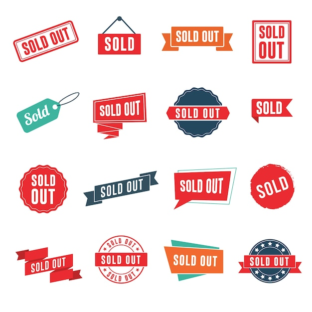 Sold out banners, labels, stamps, and signs Premium Vector