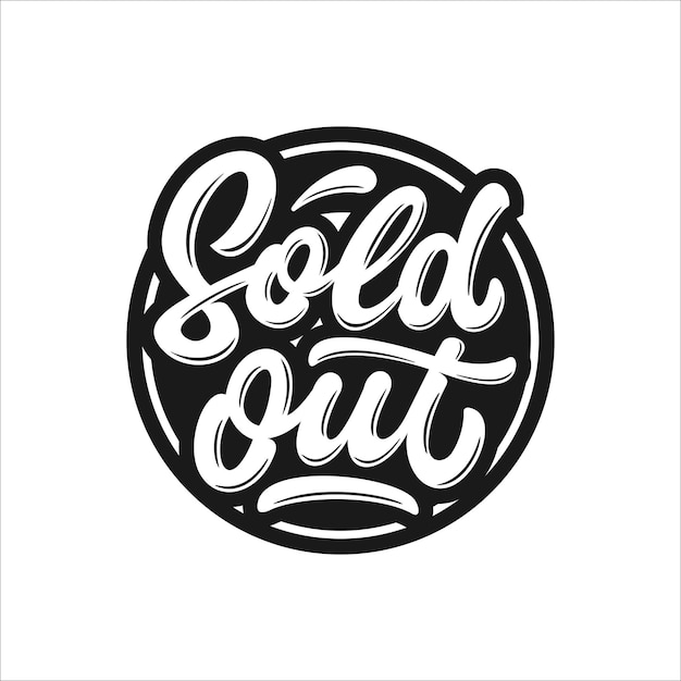 Sold out lettering stamp Premium Vector