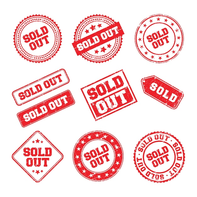 Sold out logo badge Premium Vector