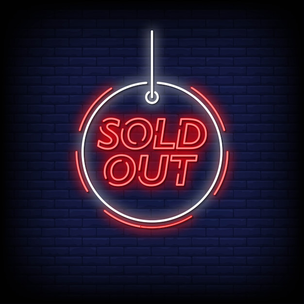Sold out neon signs style text vector Premium Vector