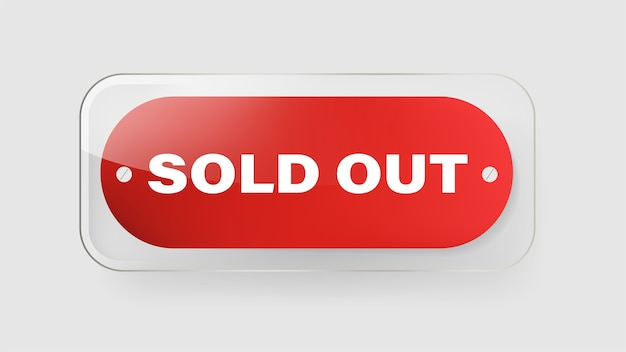 Sold out red banner label and tag ribbon vector design. Premium Vector