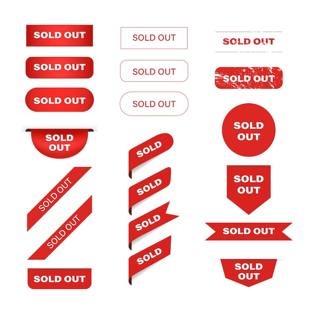 Sold out red banner label and tag ribbon. Premium Vector