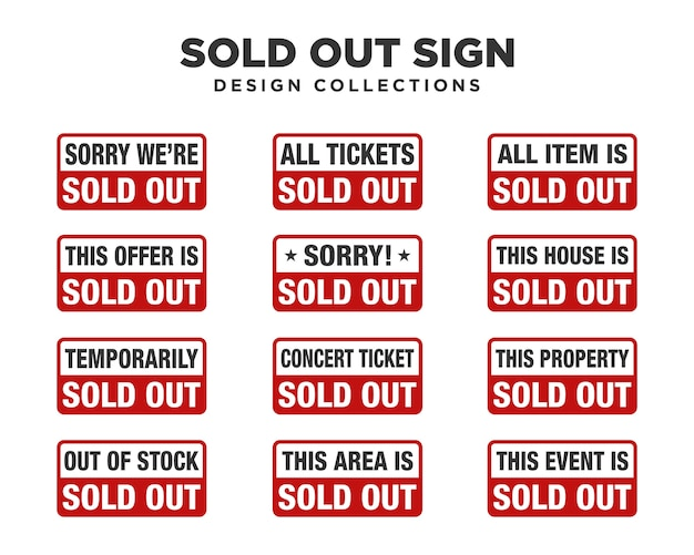 Sold out sign sets Premium Vector