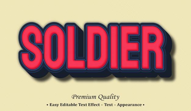 Soldier 3d editable text style effect Premium Vector