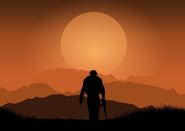 Soldier against sunset landscape Free Vector