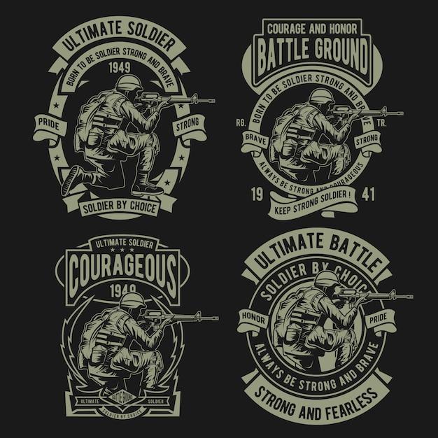 Soldier army badge Premium Vector