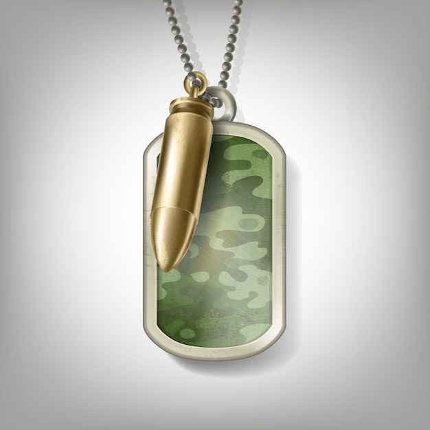 Soldier camouflage metal tag with bullet on chain Free Vector