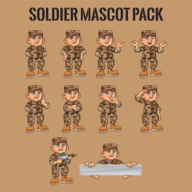 Soldier character in different poses Premium Vector