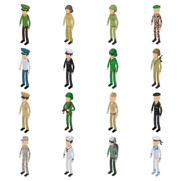 Soldier character icons set. isometric illustration of 16 soldier character vector icons for web Premium Vector