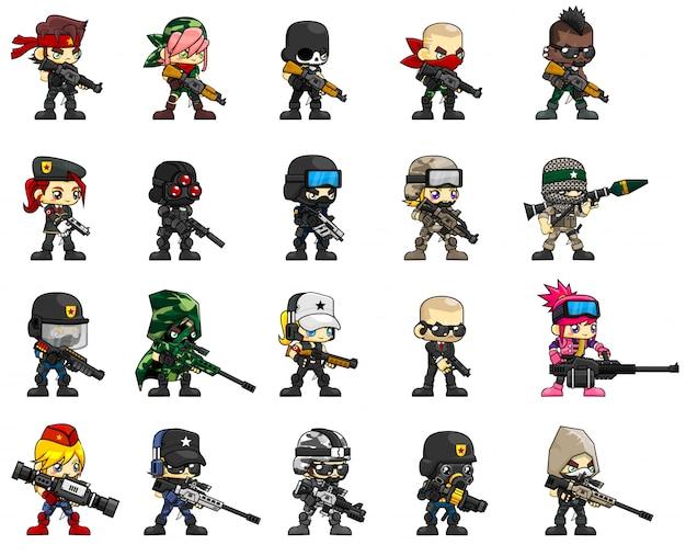 Soldier character illustration Premium Vector