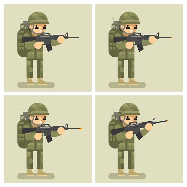 Soldier flat design animation shot weapon. order act movement, automatic and shooter, assault or attack, uniform warrior Free Vector
