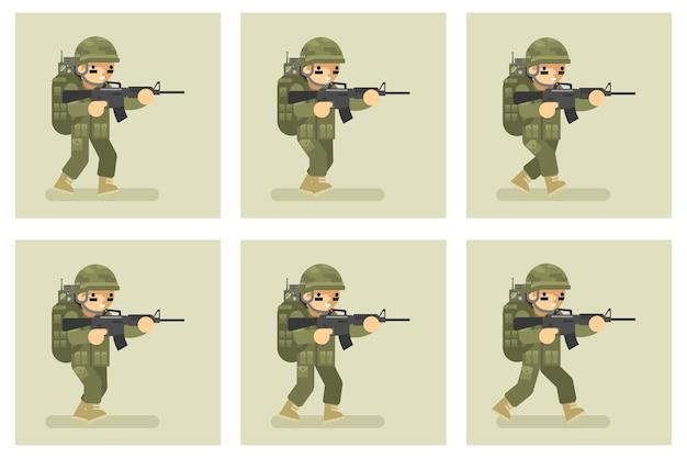 군인 평면 디자인 실행 애니메이션 캐릭터. 군대, 제복을 입은 남자 행동 프리미엄 벡터