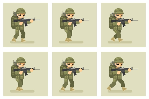 Soldier flat design run animation character. military army, man action in uniform Premium Vector