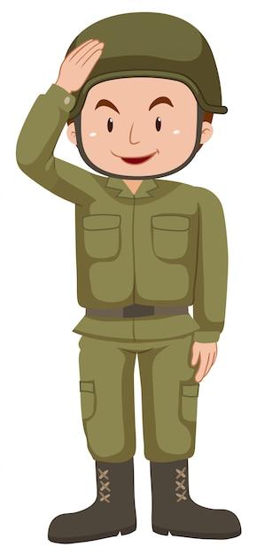緑の制服を着た兵士 無料ベクター