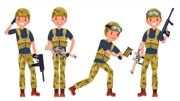 Soldier male character set Premium Vector