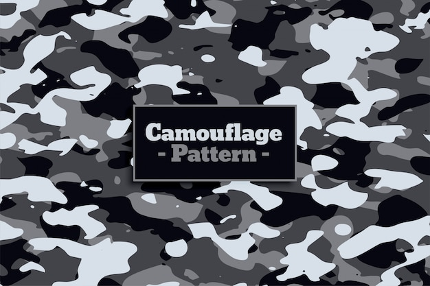 Soldier military camouflage pattern in white and gray shade Free Vector