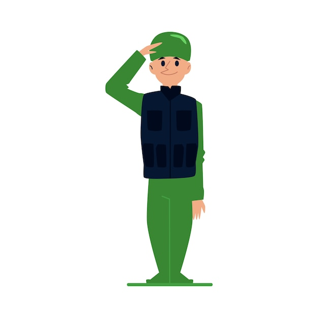 Soldier or officer man in military uniform in  style cartoon  illustration  on white background. army professional male cartoon character saluting. Premium Vector