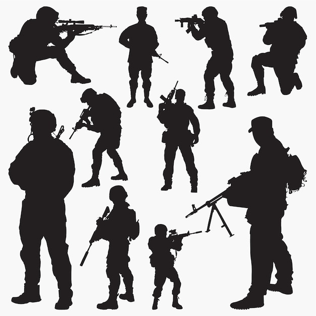 Soldier silhouettes Premium Vector